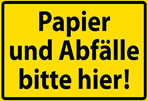 FS waarschuwingsbord papier en afval gelieve hier! Metal Sign Metal Sign 20 x 30 cm