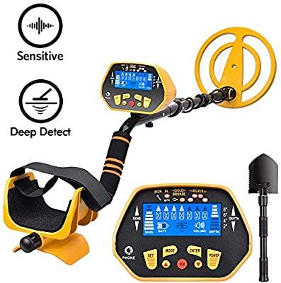 RM RICOMAX GC-1028 Metal Detector - High-Accuracy Waterproof Metal Detector w/LCD Display Control Box [P/P Function & Discrimination Mode & Distinctive Audio Prompt] 10 Inch Search Coil, Yellow.