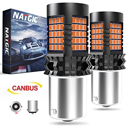 1156 BA15S Bombillas LED ámbar, NATGIC P21W 7506 LED Canbus sin Errores Resistencia de Carga Incorporada para Luces de Señal de Giro Delanteras o Traseras del Coche - 89 chips LED 4000LM (2 Pi