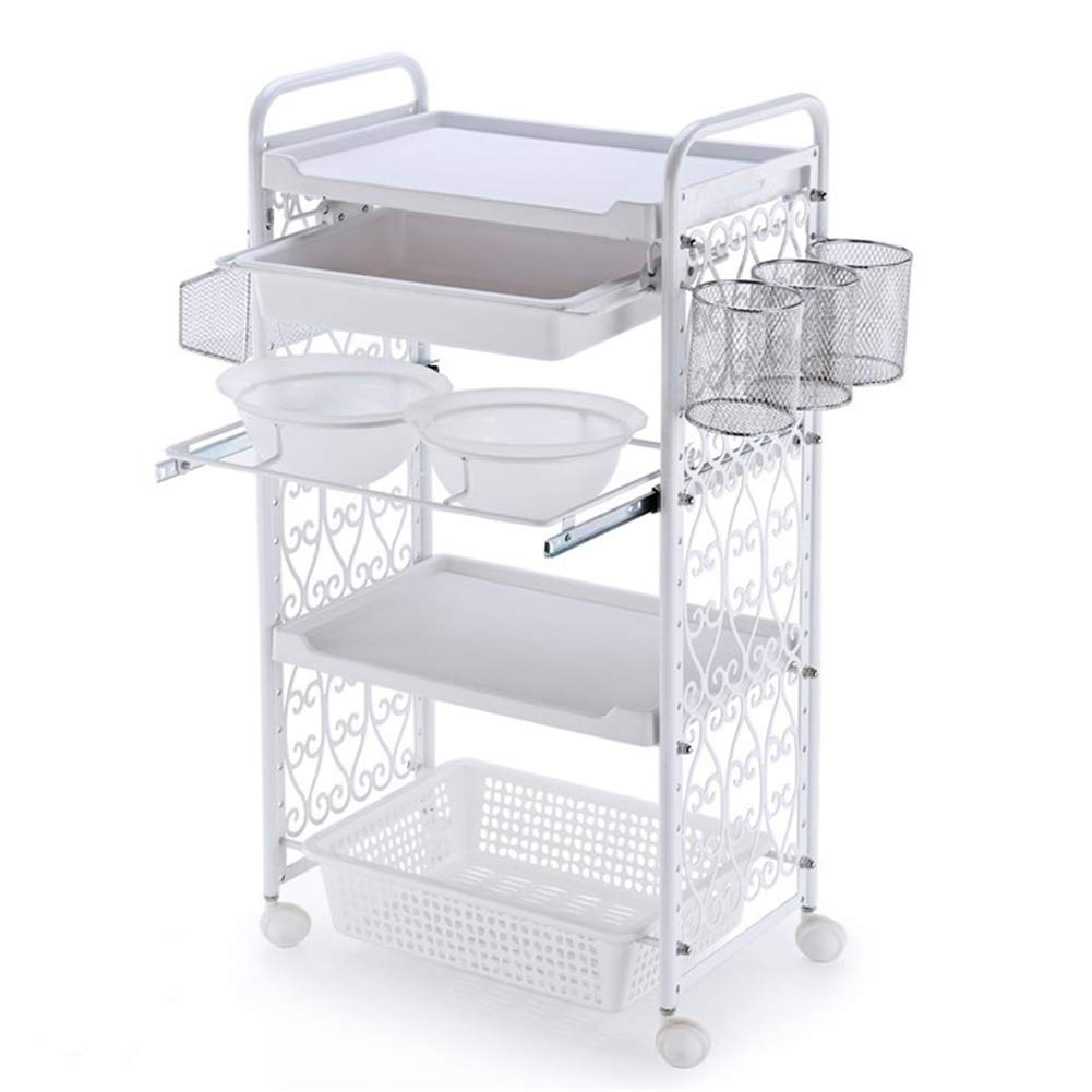 SOTROLLEY 4 Tier Beauty Cart SPA Salon Trolley Hairdress with Hair Color Bowls Tools Organizer Storage Tray on Rolling Wheels White: Beauty