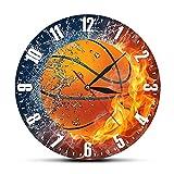 Reloj de Pared Mitad en Agua Mitad en Fuego Baloncesto Reloj de...