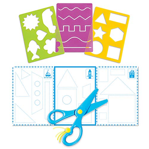 Learning Resources Trace Ace Scissor Skills Set, Homeschool, Fine Motor Tools for Toddlers, Stencil Set, 7 Piece Set, Ages 3+