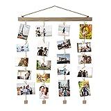 Vencipo Mensole da Muro Marrone Design per Appendere Cornice Portafoto Collage, Cornici Foto in Legno Multipla con 24 Foto Clips, Scaffale Legno Accessori per Camera da Letto.(40 * 60cm)
