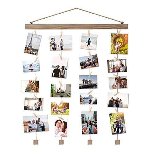 Vencipo Holz Bilderrahmen Collagen für Wand Deko Wohnzimmer, Hänge Fotorahmen Organizer mit 24 Mini Wäscheklammern, Natur, Dekoration für Kinderzimmer, Babyzimmer, Party.(40 * 60cm)