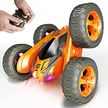 Tecnock Remote Control Car for Kids,360 ° Rotating Double Sided Flip RC Stunt Car,2.4Ghz 4WD Toy Car with Rechargeable Battery for 45 Min Play,Great Gifts for Boys and Girls Orange