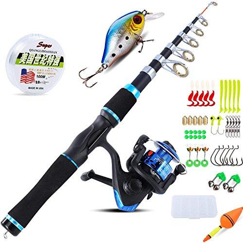 Sougayilang, kit con canna da pesca per bambini, con mulinelli da spinning, telescopica, canna da pesca per viaggi, per acqua dolce, pesca alla trota, Blue