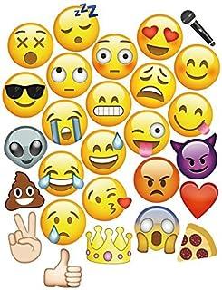 WedDecor 9 Stück Emoji Gesichter Fotostand Requisiten für Fotografie und Verschiedene Emoji Designs Groß Enough Zum Abdecken das Gesicht Perfekt für Hochzeiten und Partys   27pcs