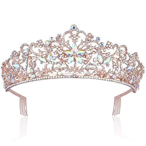 Coucoland Damen Vintage Königin Diadem Luxus Prinzessin Krone Cellophan Farbe Braut Tiara Hochzeit Krone Kristall Geburtstag Krone Damen Kostüm Haar Accessoires (Rose Gold)