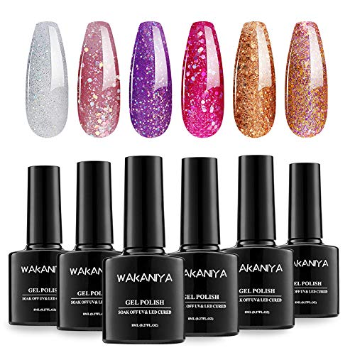 WAKANIYA UV Gel Nagellack Set, Gel Nail Polish Kit,6 Flaschen 6ml, Glitter Serie Solid Color, tränken weg Nail Art Gel Politur