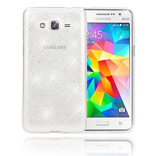 NALIA Custodia Protezione compatibile con Samsung Galaxy Grand Prime, Glitter Silicone-Case Sottile Cover Protettiva Cellulare, Ultra-Slim Telefono Copertura Rigida Bumper Sottile, Colore:Argento