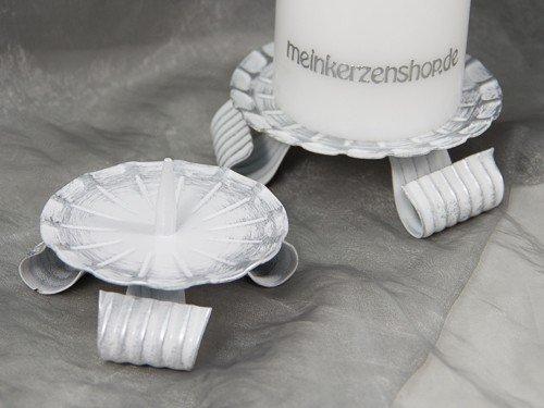 Kerzenteller Kerzenständer Kerzenhalter für Hochzeitskerze Taufkerze Silber 16804, Größe:8 cm