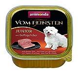 animonda Vom Feinsten Hundefutter Junior, Nassfutter für Hunde im Wachstum, Geflügelleber, 22 x 150 g