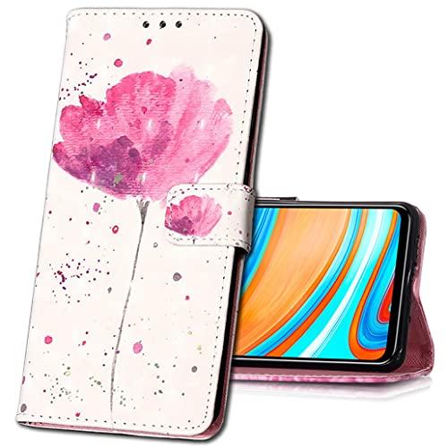 MRSTER Xiaomi Redmi 8A Handytasche, Leder Schutzhülle Brieftasche Hülle Flip Hülle 3D Muster Cover Stylish PU Tasche Schutzhülle Handyhüllen für Xiaomi Redmi 8A. YB Red Flower