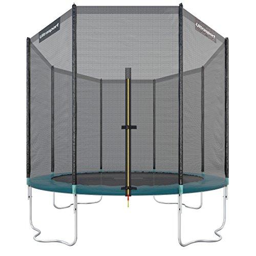 Ultrasport Trampolino da giardino Jumper, set trampolino per Il Salto inclusi tappeto elastico, rete di sicurezza, pali della rete imbottiti e rivestimento dei bordi, fina a 150kg, Verde, Ø 305 cm