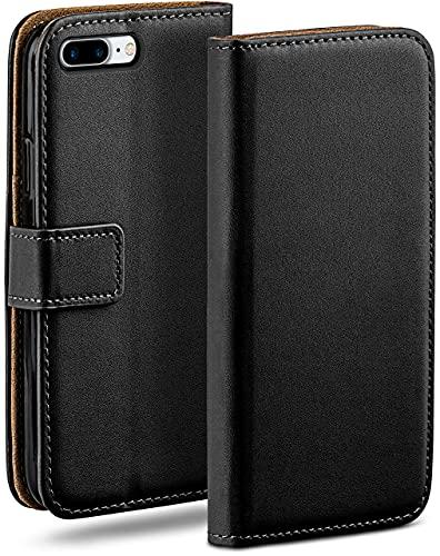 moex Klapphülle kompatibel mit iPhone 7 Plus/iPhone 8 Plus Hülle klappbar, Handyhülle mit Kartenfach, 360 Grad Flip Hülle, Vegan Leder Handytasche, Schwarz