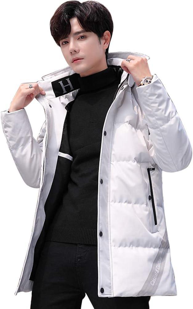 Down jacket Winter Men's, Medium Long Thicken Warm Jacket, Hooded Winter Clothing, Filler: 90% White Duck Down (White, Khaki, Black, Cyan)