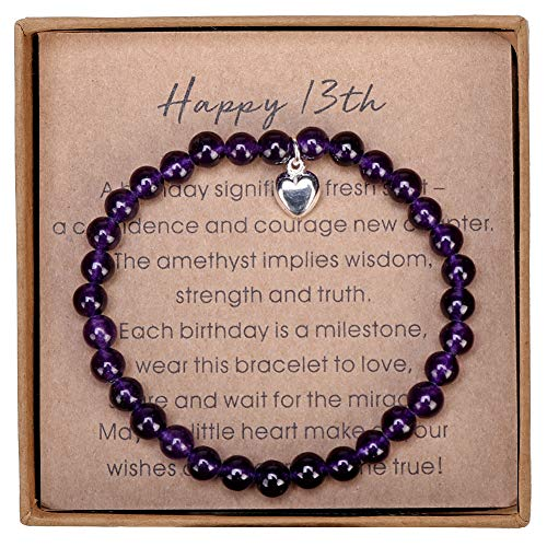 Gifts for 13 Year Old Girl Amethyst Bead Bracelet with Sterling Silver Heart Charm