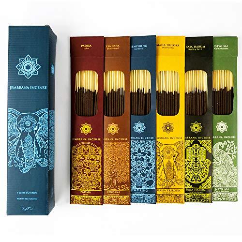 Jembrana Incense Sticks - Mix 6 Scents (144 Sticks Total), 24 Sticks Each of Lotus (Padma), Sandalwood, Gardenia, Maha Triloka, Raja Harum & Dewi Sai...