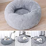 INMOZATA Dog Bed Machine Washable Soft Fluffy PlushCat Bed Round Warm Cuddler Pet Sleeping Bag Nesting Cave Bed for Small to Large Dog Cats Pet Kittens,60x60x20cm(Grey)