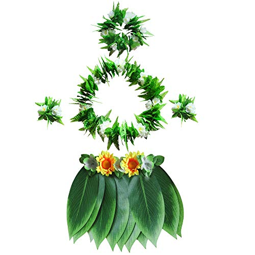 LAYSERI Hawaiian Tropical Hula Grass Skirt Set with Green Leaves Leis Bracelets Headband Wristband for Beach Luau Party Supplies Hawaiian Costume Set Party Decorations (Hula Grass Skirt Set, S)