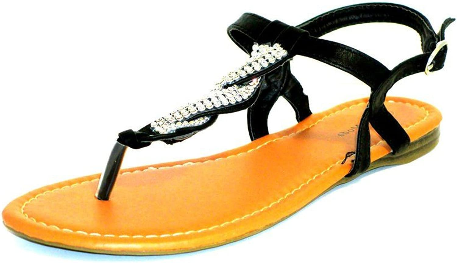 Bamboo Riverberry Womens Armin Rhinestone-Detailed T-Strap Sandals