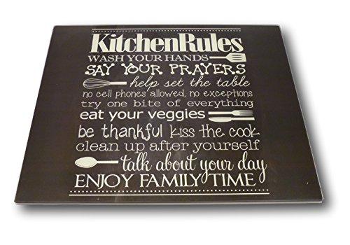 Best-Accessoires4All XL Glas Herdabdeckplatte Herdabdeckung Schneidebrett Abdeckplatte Ceranfeld Design Kitchen-Rules Küchen Regeln Kochfeld Abdeckung Spritzschutz Herdblende
