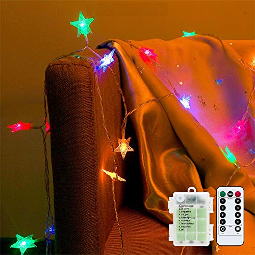 Tasodin Star String Lights 20Ft 40LED Waterproof Battery Operated,with Remote & Timer & 8 Modes for Indoor and Outdoor Bedroom Holiday Birthday Wedding Christmas Decor Multicolor