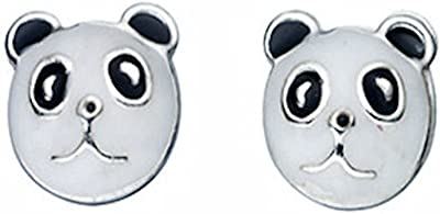 TF cute, Painted panda Bear orecchini, in argento Sterling 925
