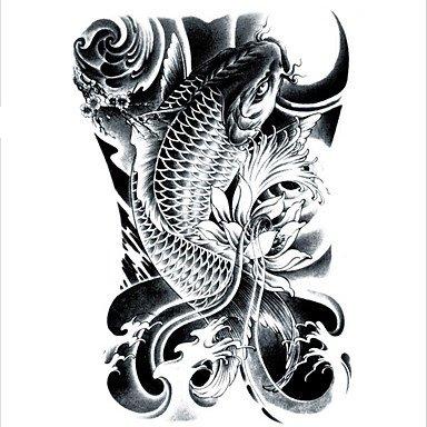 MZP lc2814 21 * 15cm 3d gros gros croquis autocollant tatoo noir conceptions de dessin de poisson d'or refroidir tatouage autocollants