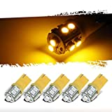 Partsam T10 LED Light Bulbs 5pcs 10-3528-SMD Chipset 194 168 Amber LED Replacement Bulbs Compatible with Dodge Pickup Truck Cab Marker Roof Running Top Light 12V (Pack of 5)