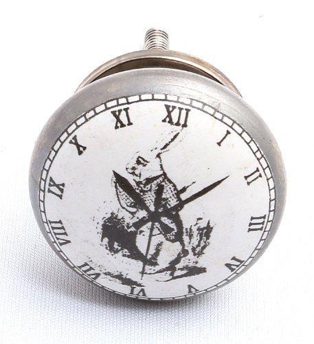 Vintage-Chic 'I'm Spät!' Alice im Wunderland weiß Kaninchen Zifferblatt Knopf Schrank 42mm Antik Silber Ausführung x 1