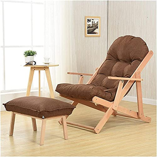 Sillones de ocio mecedora de madera maciza plegable silla de salón simple perezoso sofá reclinable sala de estar dormitorio balcón muebles marrón con reposapiés