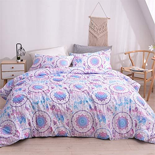 Pink White Comforter Cover single Girls Bedding Set Dream Catcher Decorative 2 Pieces Galaxy Duvet Cover Set Modern Bedspread Cover With 1 Pillowcase Dreamcatcher Pattern Microfiber Zipper