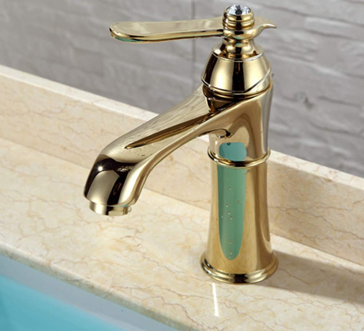 redOOY Diy Bathroom Sink Taps Taps Faucet gold Copper Bathroom Washbasin Kitchen Bathroom Hot And Cold Single Hole Wash Basin Basin Bathroom Faucet