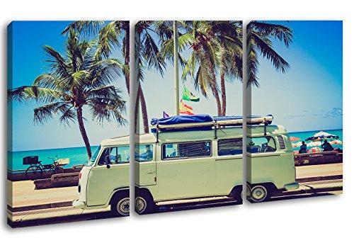 deyoli Camper am Strand mit Palmen Format: 3-teilig 120x80 als Leinwandbild, Motiv fertig gerahmt auf Echtholzrahmen, Hochwertiger Digitaldruck mit Rahmen, Kein Poster oder Plakat