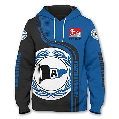 SPONYBORTY-H Männer Hoodies Zum Dsc-Arminia-Bielefeld 3D Drucken Kapuzenpullover Pullover/Zip Jacke Unisex Sweatshirts Jersey Sport / A1 / L