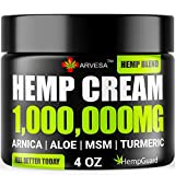 Natural Hemp Cream - 1,000,000 - Made in USA - Relieves Inflammation Muscle, Muscle, Joint, Back, Knee- High Strength Hemp Oil Extract with MSM - Arnica - Turmeric - 4 fl. Oz