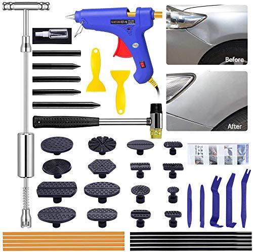 Juego de herramientas de reparación de abolladuras y abolladuras sin pintura, juego de reparación de abolladuras para DIY vehículos, frigoríficos, herramientas de reparación de abolladuras