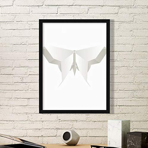 DIYthinker Origami Blanco de la Mariposa Abstracta del Arte del Modelo Pintura Foto de la Imagen del rectángulo de Madera del hogar del Marco Regalo decoración de la Pared Medio Negro