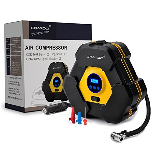 Grando - Pompa Compressore d'aria Automatica con Display Digitale, DC 12V 10 A 150PSI per Veicoli, Pneumatici, Palloni, Oggetti Gonfiabili.
