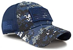 Removable velcro front allows patch customization Embroidered USA flag on side One size fits most, adjustable Velcro Closure 6 Panel Cap W/ 4 mesh panels back