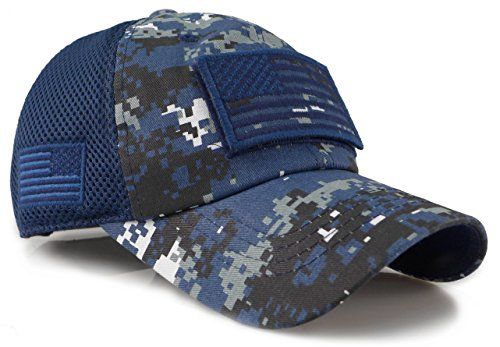 The Sox Market Camouflage Constructed Trucker Special Tactical Operator Forces USA Flag Patch Baseball Cap (Digital Navy)