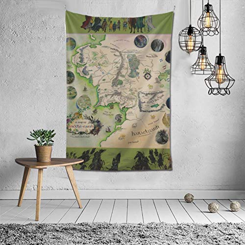 NiYoung A Map of Middle Earth Wall Hanging for Living Room Bedroom Dorm Decor