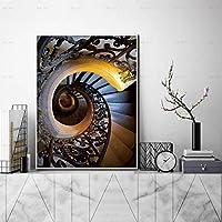 キャンバスペインティング 壁アートらせん階段キャンバス絵画北欧のポスターと版画写真リビングルームの家の装飾 50x75cm