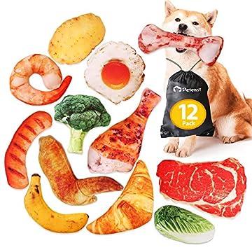 [Realistisches Design der Lebensmittelform] Entworfen in Form von Lebensmitteln wie Steak, Spiegelei, Garnelen, Hühnchen, Kartoffeln, Brokkoli, Bananen, Würstchen, Knochen und Snacks, sollte dieses Hundespielzeug das perfekte Geschenk für Ihre Hausti...