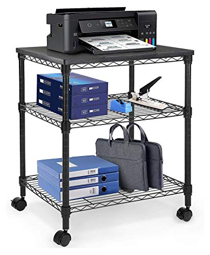 HUANUO Printer Stand - 3 Tier Printer Cart for Storage Holds up to 200 lbs Multifunctional Metal Utility Shelves Workspace Desk Organizer Rolling Cart for Home Office Use