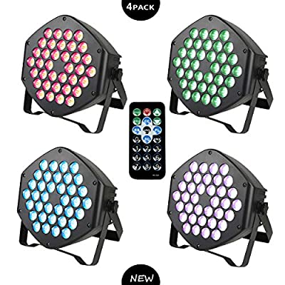 Led Stage Lights, ZJ LIGHT Party Lights 36x1W LED Full Color RGB, Sound Activated 7 Modes DJ Uplighting with Remote Control Equipment for Club Wedding Birthday Party Indoor Event Dance (4 Pack)