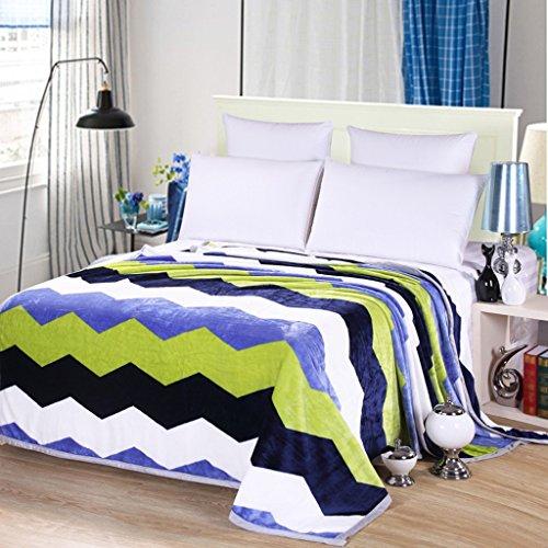 Wddwarmhome Couverture Chaude Polyester Matériau Vague Rayures Motif Chambre Couvertures Lit Four Seasons Leisure Couverture Couvertures (Taille : 180 * 200cm)