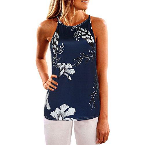 Why Choose Women Summer Tank Tops Floral Vest Sleeveless Shirt Blouse Casual T-Shirt Dark Blue
