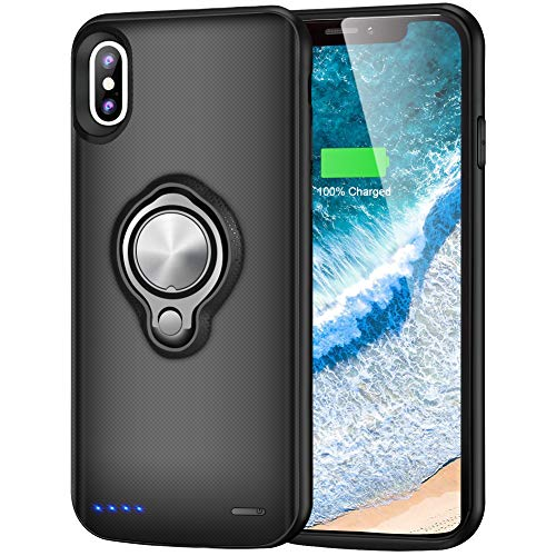 Battery Case for iPhone X/XS 6000mAh Portable Charging Case Rechargeable Extended Battery Pack with Car Holder Magnet Kickstand Lightning Cable Input Mode (5.8 Inch) - Black